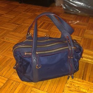 MZ Wallace navy shoulder bag with magenta